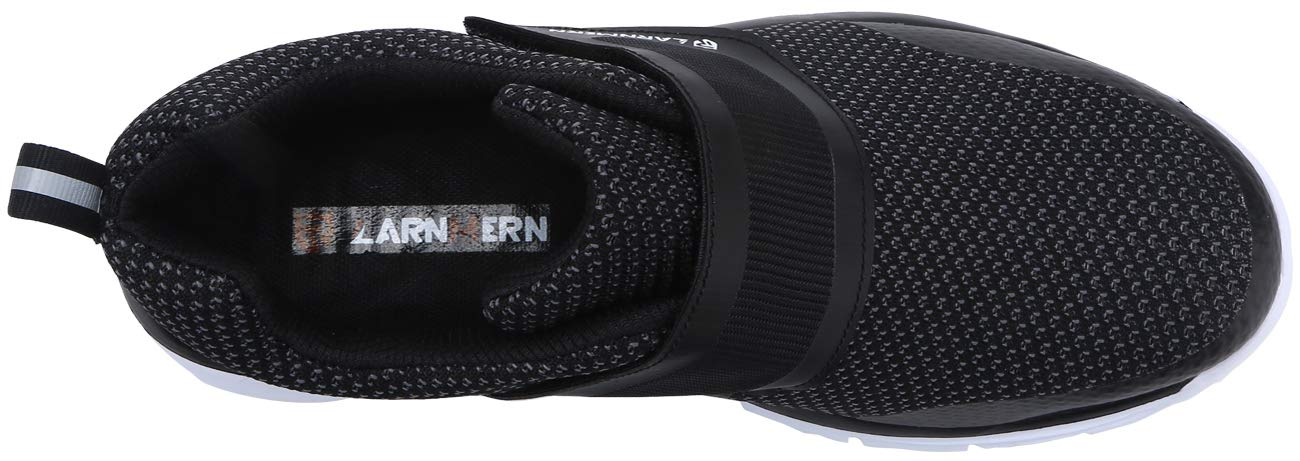 LARNMERN Men's Steel Toe Work Shoes, LM-1821 Knit Breathable Lightweight Safety Shoes with Magic Tape (Black/White, 11 Women/9 Men)