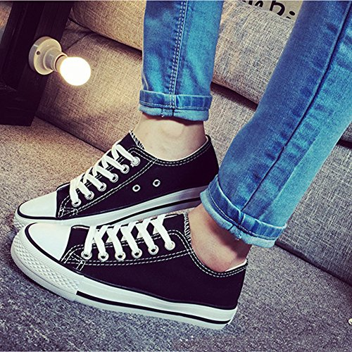Summerwhisper Womens Low Top Plimsoll Flat Canvas Shoes Sneakers Lace up Black and White mJI1z9
