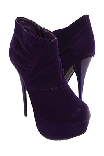 Quneutral-257 Velvet Ruched Platform Bootie Purple