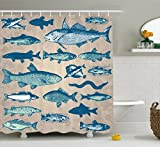 Nautical Shower Curtains Ambesonne Fish Shower Curtain Nautical Coastal Theme Marine Decor by, Sea Creatures Tropical Aquarioum Aqua Art Prints Fishing Underwater Beach Bathroom Polyester Fabric, 75 Inches Long, Taupe Navy