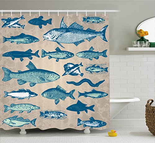 Ambesonne Fish Shower Curtain Nautical Coastal Theme Marine Decor, Sea Creatures Tropical Aquarioum Aqua Art Prints Fishing Underwater Beach Bathroom Polyester Fabric, 75 Inches Long, Taupe - Fish Gift Tropical