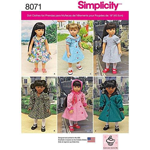 Simplicity Creative Patterns US8071OS Vintage Inspired 18 Inch Doll Clothes Size: Os (One ()