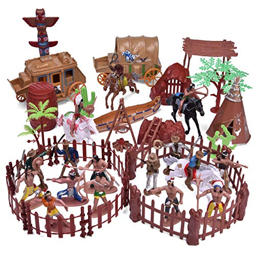 FunLittleToy 61 PCs Wild West Cowboys and Indians Plastic Figures, Toy Soldiers for Kids, Easter Basket Stuffers Boy