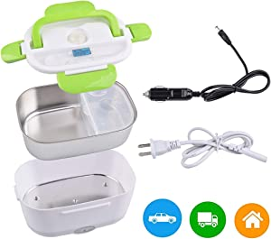 Car Electric Lunch Box, Portable Food Warmer Heater, Food-Grade Stainless Steel Tray, 12V & 110V 40W Adapter, Car Truck Home Work Use, Spoon and 2 Compartments Included, Green