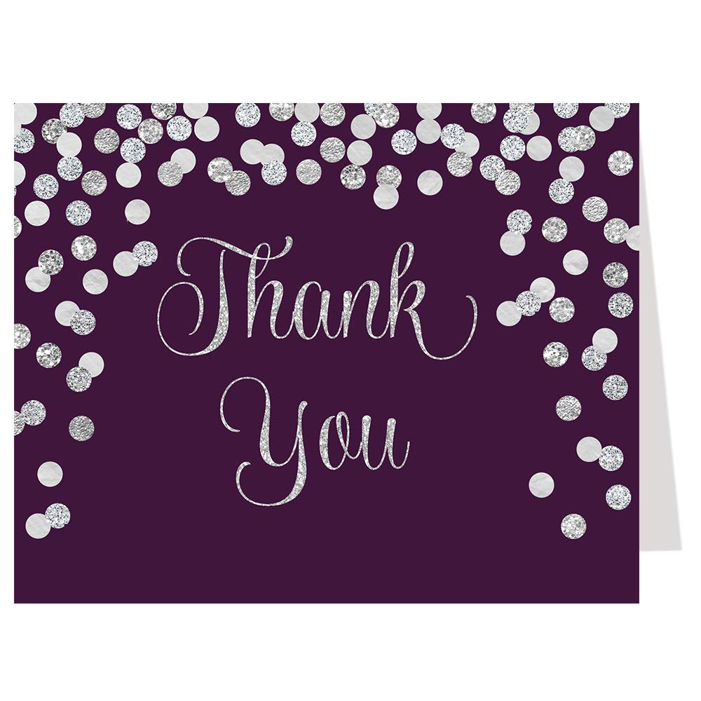 Thank You Cards, Confetti, Plum, Silver, Bridal Shower, Wedding, Eggplant,Purple, Glitter, Sparkle, Set of 50 Folding Notes with Envelopes, Brunch and Bubbly