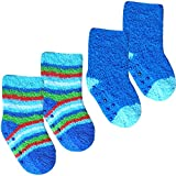 Baby Boys' Super Soft & Fluffy Cosy Gripper Socks (2 Pair Multi Pack) (UK Infant Shoe 0-0 (Euro 15), Blue Mix)