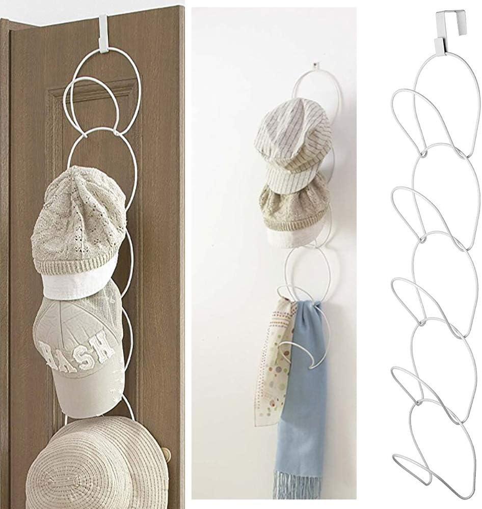 TopHGC Ganchos para Sombreros, Armario de Alambre de Hierro Ganchos para Sombreros para 5 Sombreros Expositor para Sombreros Gorra de béisbol Toallero Organizador (Blanco)