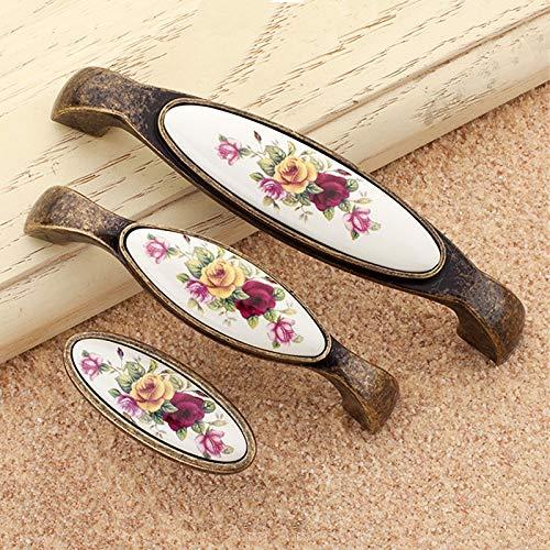 Xy Exquisite Perillas de aleaci/ón Flor Rural Vintage Cer/ámica de Bronce Blanco for 8 tama/ños Armario Armario Accesorios de Cocina Tiradores de Puerta Color : Z1