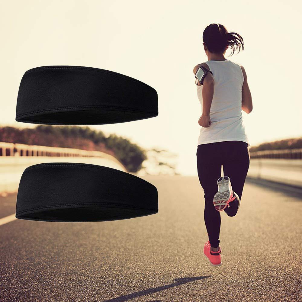 HO2NLE 2pz Fascia/per/Capelli/Sport Fascia/Tergisudore Elastica per Uomo Donna Yoga Running Baseball Corsa Ciclismo Nero Larga 3,3 Pollici