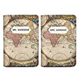 Vintage Map Wanderer Couple Passport Holder Personalized Set of 2