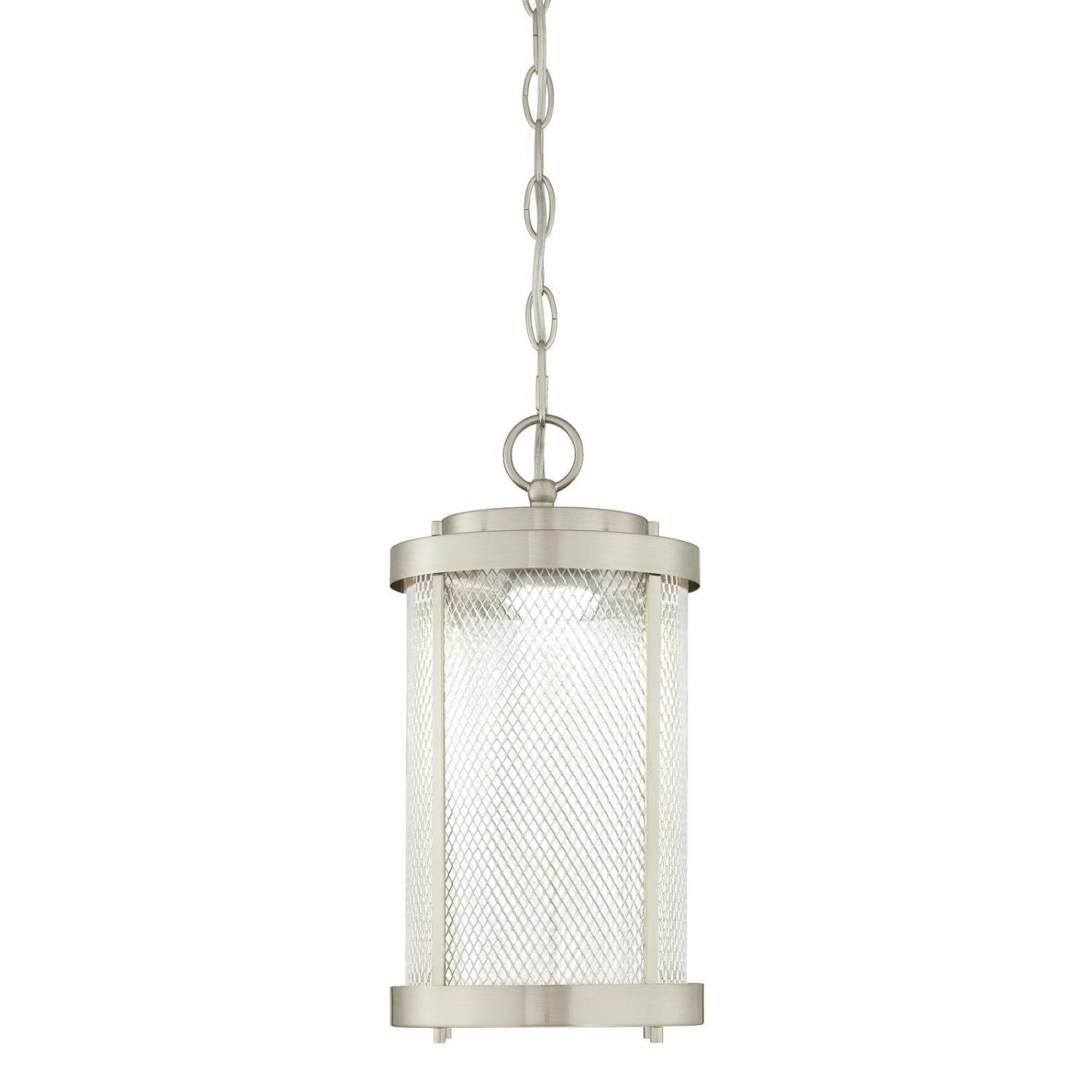 Westinghouse 6312224 Skyview One-Light LED Outdoor Pendant, Brushed Nickel Finish with Mesh and Clear Glass by Westinghouse