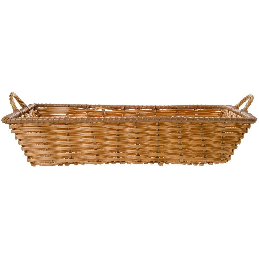 Storage Basket, Rectangular, Natural Color with Handles - 20''L x 13 1/2''W x 4''H