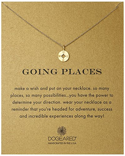 Disc Necklace Jewelry (Dogeared Going Places Compass Disc Gold Dipped Chain)