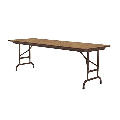 Correll 24 x60 Commercial Duty Adjustable Height Folding Table, Medium Oak Melamine Top 5 8 Thick Core, Made in the USA, Steel Apron CFA2460M-06
