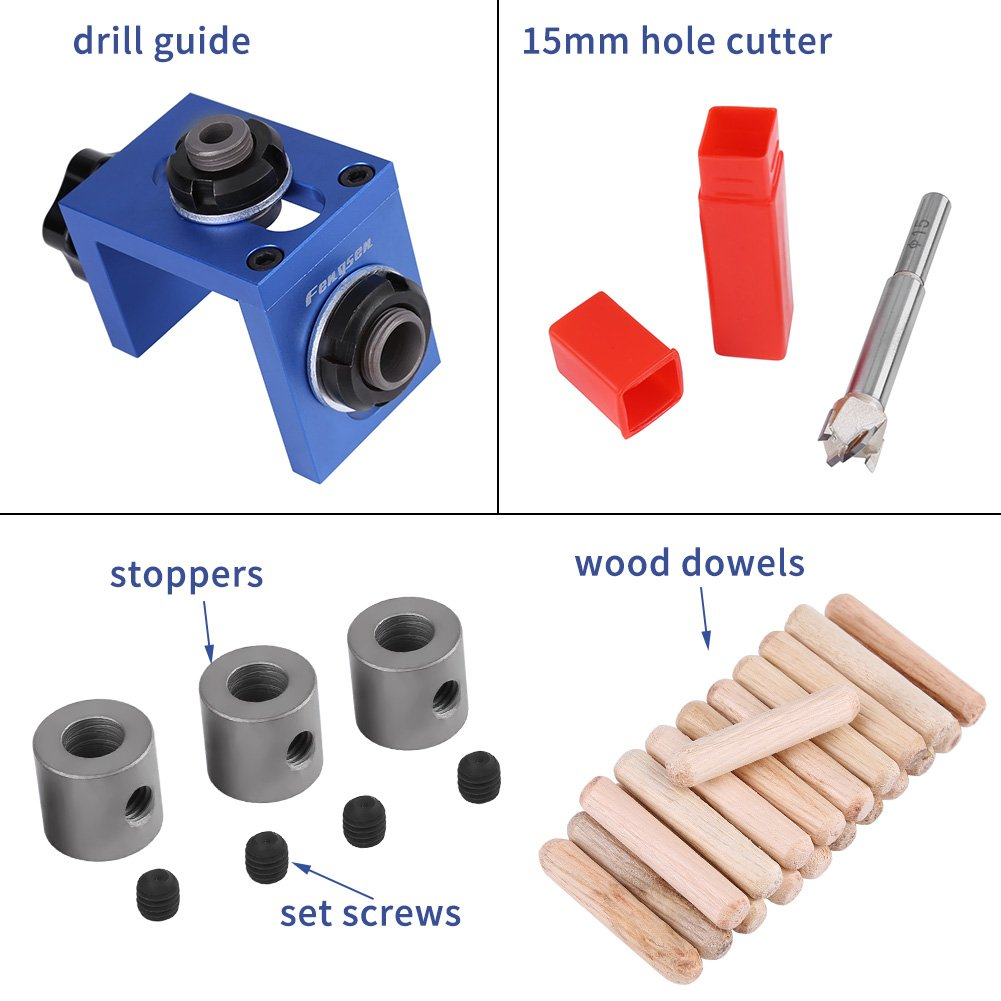 Facile /à Utiliser et /à Installer,pour Assembler des Planches de Bois Acogedor Guide de Per/çage Oblique Set,Guide de Forage pour Trou de Poche /à Bois en Alliage daluminium