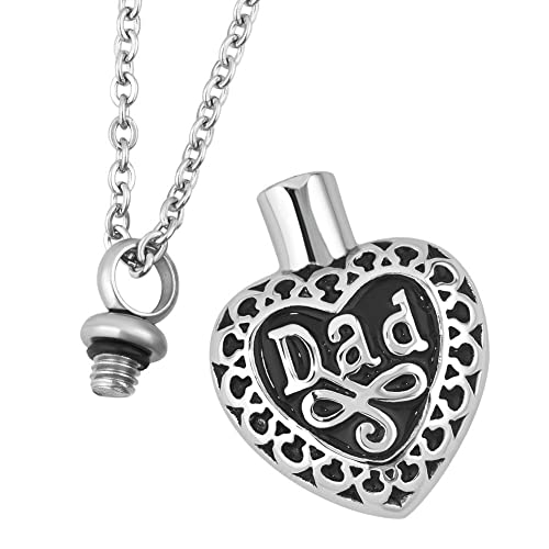 Men Cremation Jewelry Keepsake Dad Urn Necklaces for Ashes Memorial