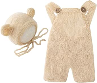 Fashion Newborn Boys Girls Baby Photo Shoot Props Outfits Crochet Clothes Mohair Hat Pants Photography Props