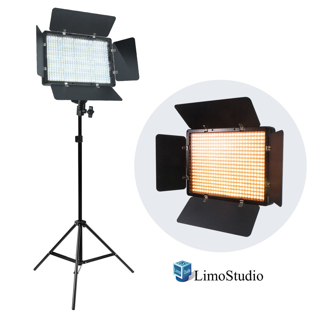 LimoStudio LED Barn Door Light Panel with Light Stand Tripod, Dimmable Brightness Control, Color Temperature Control by Color Filter Gel, Continuous Lighting Kit, AC Power Cord, Photo Studio, AGG2218