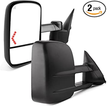 YITAMOTOR Compatible for Chevy Towing Mirrors Pair 2003-2007 Power Heated with Arrow Signal Light GMC Sierra Tow Mirrors Chevrolet Silverado Side Mirror