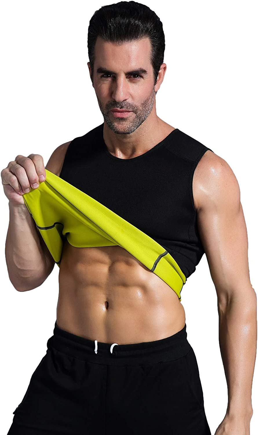 Ausom Mens Slimming Shaper Vest- Hot Thermo Shapewear- Exercise & Workout Sauna Suit- Abdominal Trainer- Upper Body Fat Burner for Weight Loss