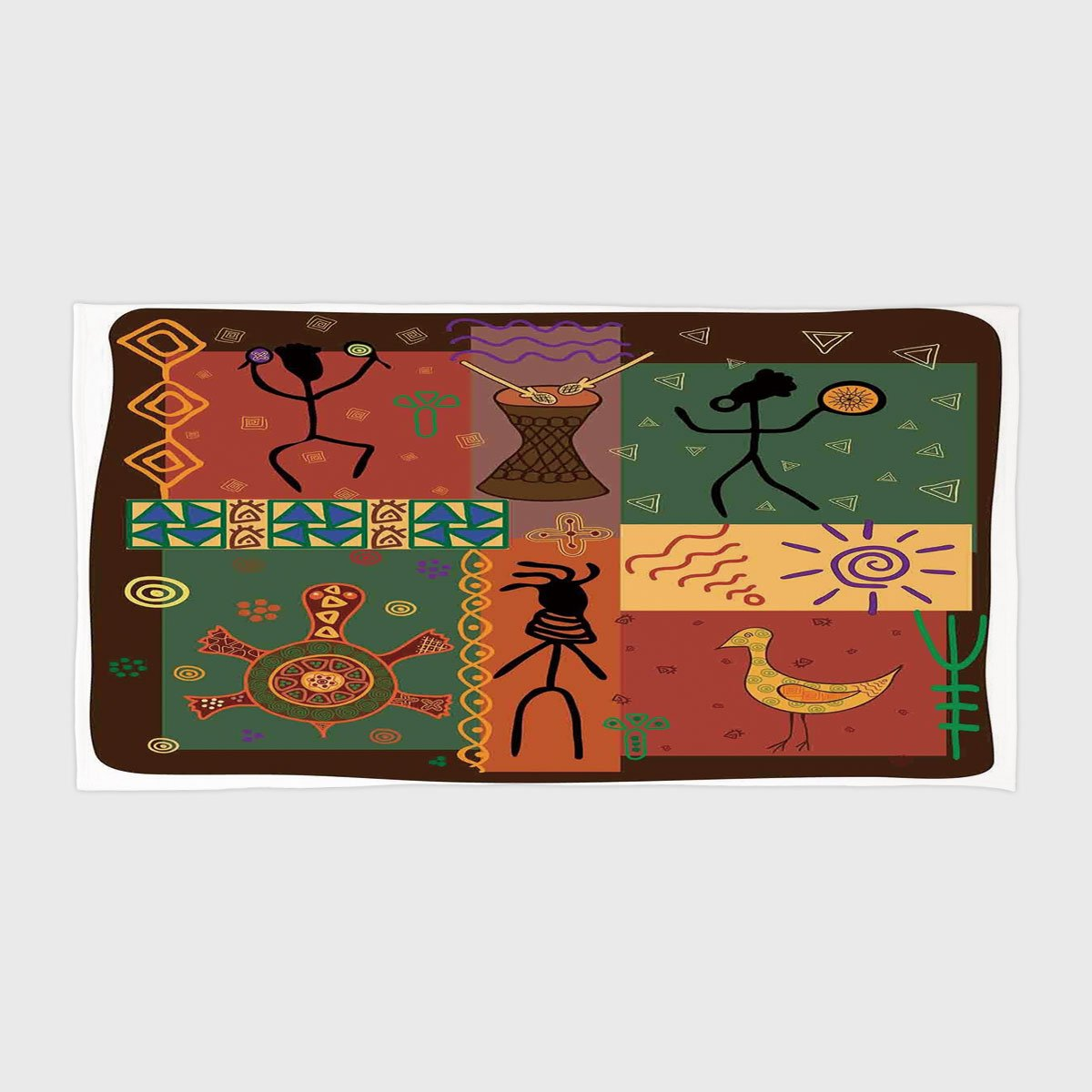 iPrint Cotton Microfiber Hotel SPA Beach Pool Bath Hand Towel,Primitive,Funky Tribal Pattern Depicting African Style Dance Moves Instruments Spiritual,Multicolor,for Kids, Teens, and Adults