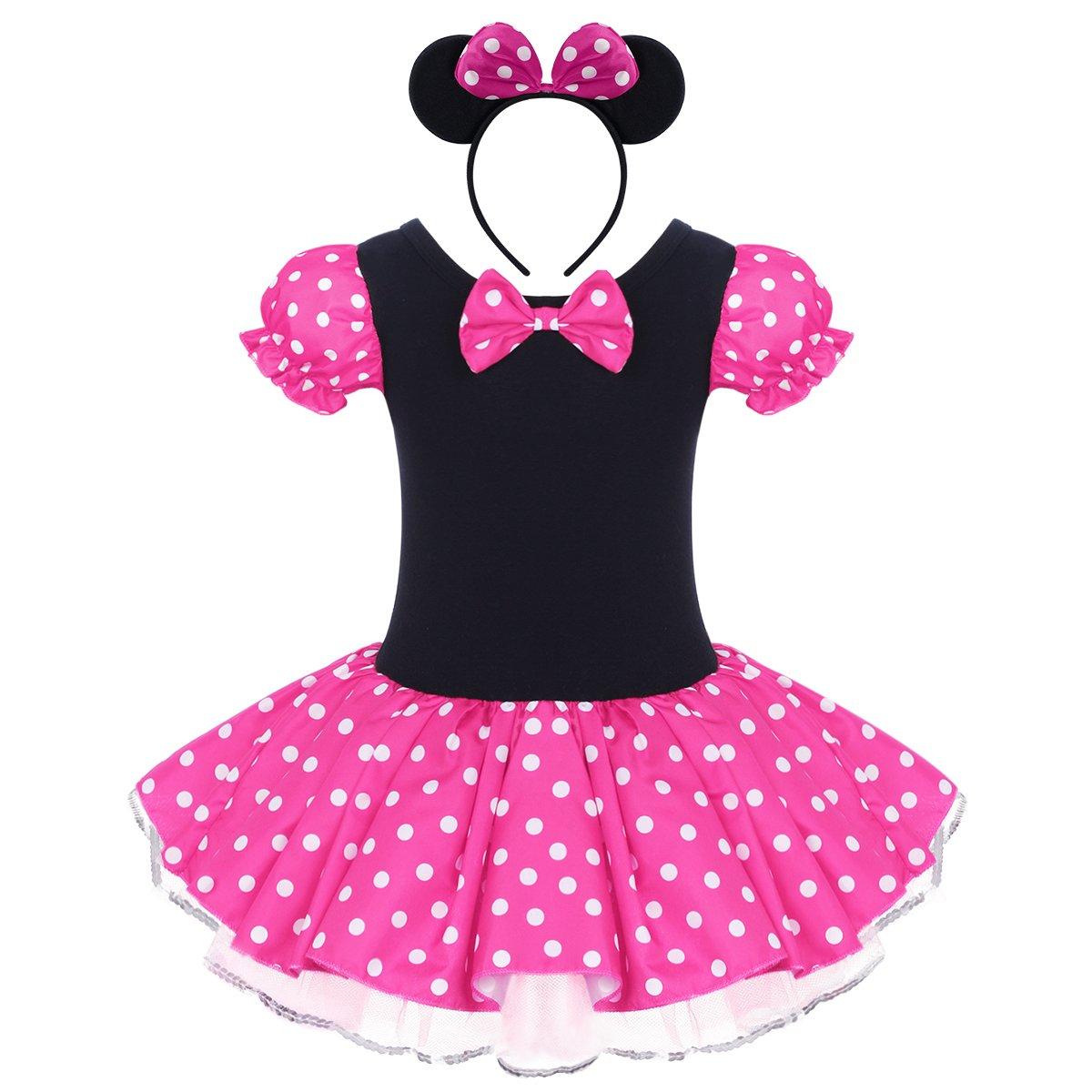 Kid Girl Minnie Costume Tutu Dress Ear Headband Outfit Summer Puff Sleeve Polka Dot Ruffle Bowknot Christmas Halloween Dress Up # Hot Pink 4-5 Years