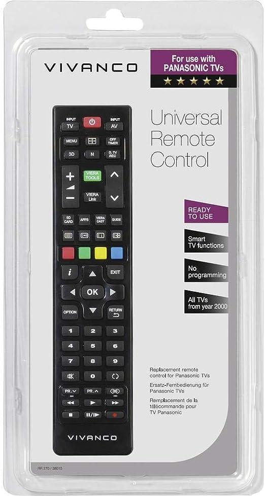 Vivanco RR 270 Mando a Distancia Universal para Panasonic, Compatible Smart TV: Amazon.es: Electrónica