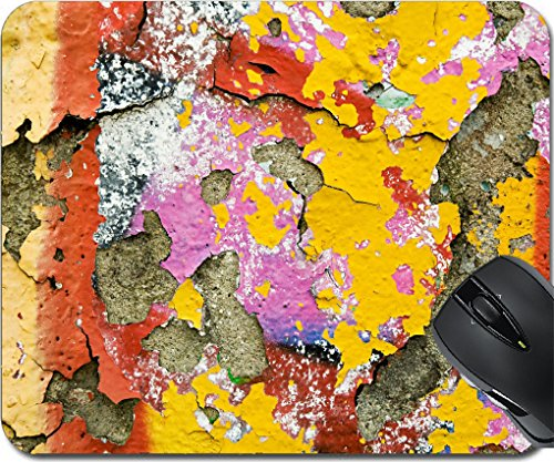 MSD Mousepad Mouse Pads/Mat design 19831569 Background texture of vivid colourful peeling paint in grunge graffiti on an old discoloured cement wall (Plaster New Cement)