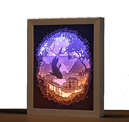 CHSHY 3D Papel Tallado lámpara, luz de Noche de Peces ...