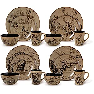 16-Piece Country Style Assorted Round Dinnerware Set Black/Brown  sc 1 st  Amazon.com & Amazon.com | 16-Piece Country Style Assorted Round Dinnerware Set ...