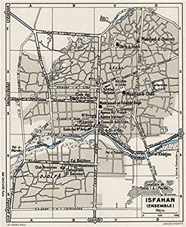 Amazon.com: ISFAHAN vintage town/city plan. Iran - 1956 - old map ...