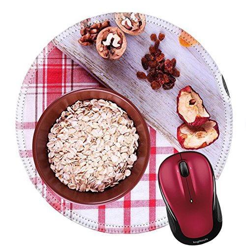 Liili Round Mouse Pad Natural Rubber Mousepad IMAGE ID 33562412 Bowl of oatmeal mug of yogurt marmalade chocolate raisins dried apricots and walnuts on wooden cutting board on checkered fabric (Checkered Walnut)