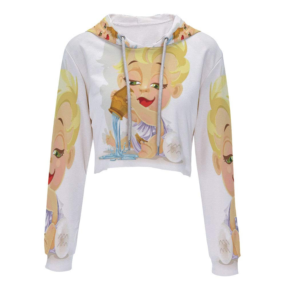 Hooded Sweatshirt Hip hop Clothing for Women S//M Brown Yellow and BlueAries Tau