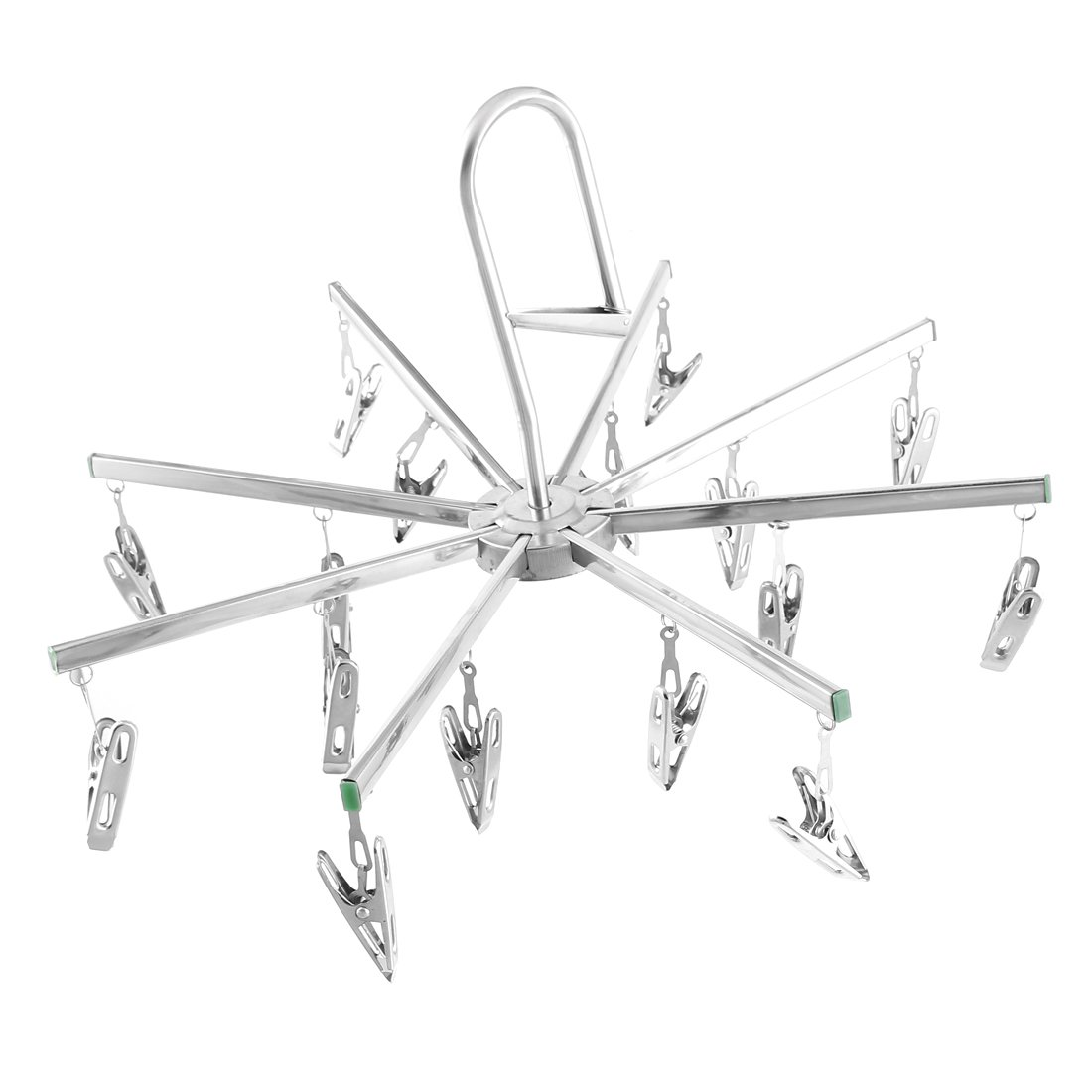 uxcell Stainless Steel Shower Clothing Cap Towels 16 Clips Foldable Hanger