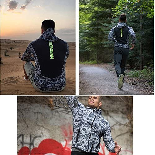 (Ruuko)メンズ 迷彩スウェットジップパーカ トレーナーパーカ トレーニング スウェットシャツ (L, グレー)