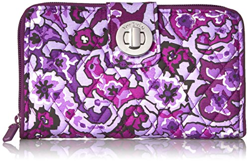 Vera Bradley Women's Rfid Turnlock Wallet-Signature, Lilac Paisley, One Size ()