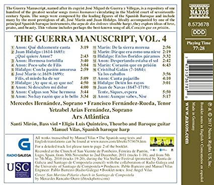 GUERRA MANUSCRIPT , Vol. 4 : Fernandez, Yetzabel Arias; Fernández-Rueda: Amazon.es: Música
