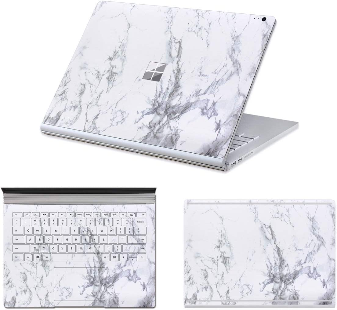 "MasiBloom 3 in 1 Laptop Sticker Decal for 13.5"" 13 inch Microsoft Surface Book 2015 Released Protective Cover Skin (Decal- Marble White)"