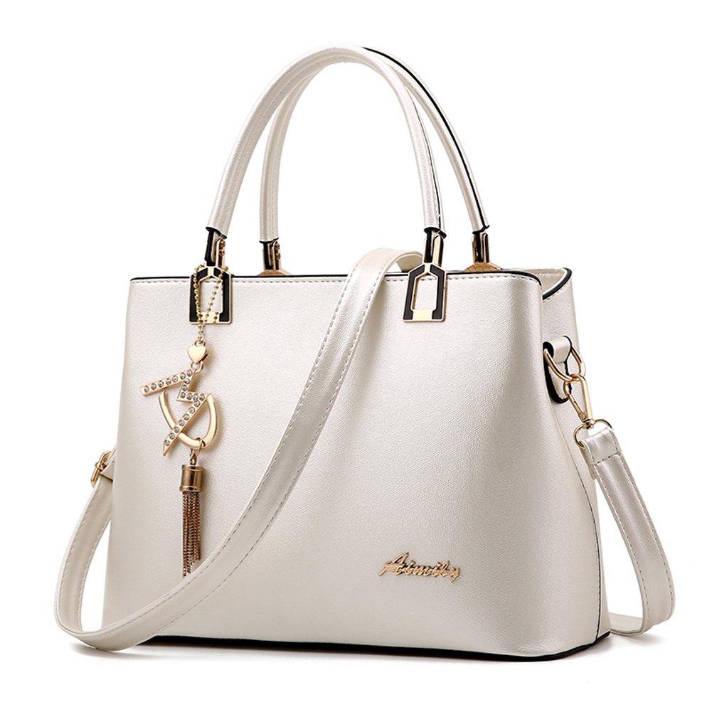 Covelin Fashion Leather Top Handle Handbag Sling Purse Tote Shoulder Bag with Decoration White