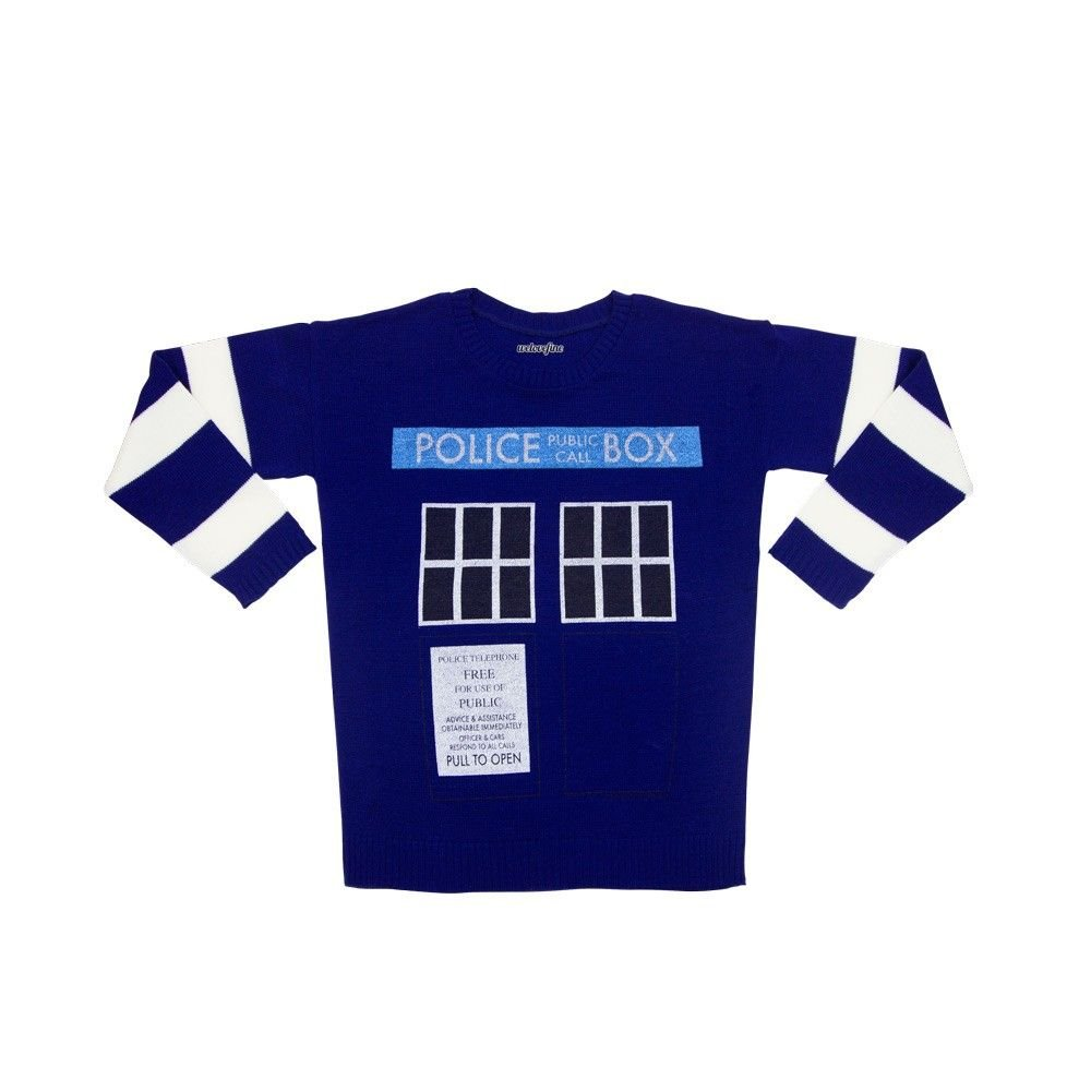 Doctor Who Junior's Blue TARDIS Sweater, Medium Mighty Fine