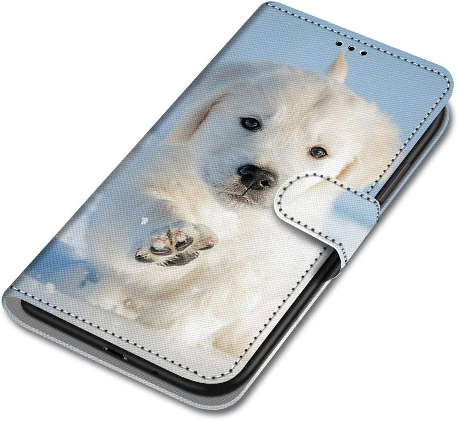 Unichthy Sony Xperia XA2 Case Flip PU Leather Shockproof Wallet Case with Stand Magnetic Money Pouch Folio Silicone Bumper Gel Protective Phone Cover for Sony Xperia XA2 White Dog