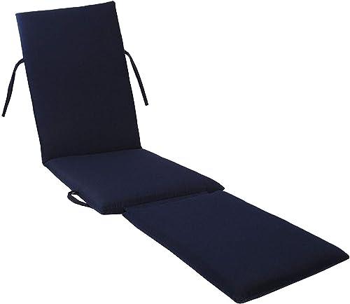 kingrattan.com Made in USA Steamer Chair Cushion Sunbrella Canvas Navy 5439