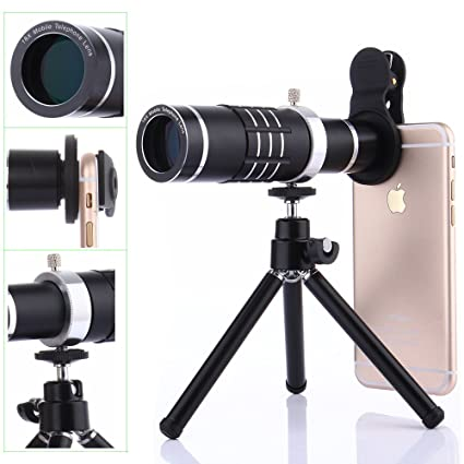 Camera Lens Kit,WMTGUBU 4 in 1 HD Universal Clip-On Phone 18X Optical Zoom  Telephoto Lens+15X Macro Lens+0 6X Wide Angle Lens Tripod (Black)