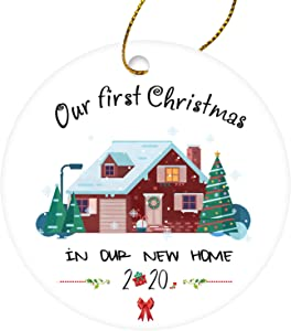 JUSTOTRY 2020 Ceramics Christmas Ornaments with Red Box - Our First Christmas in Our New Home 2020 - Creative and Funny 2020 Christmas Ornament as Christmas Tree Decorations & Gift