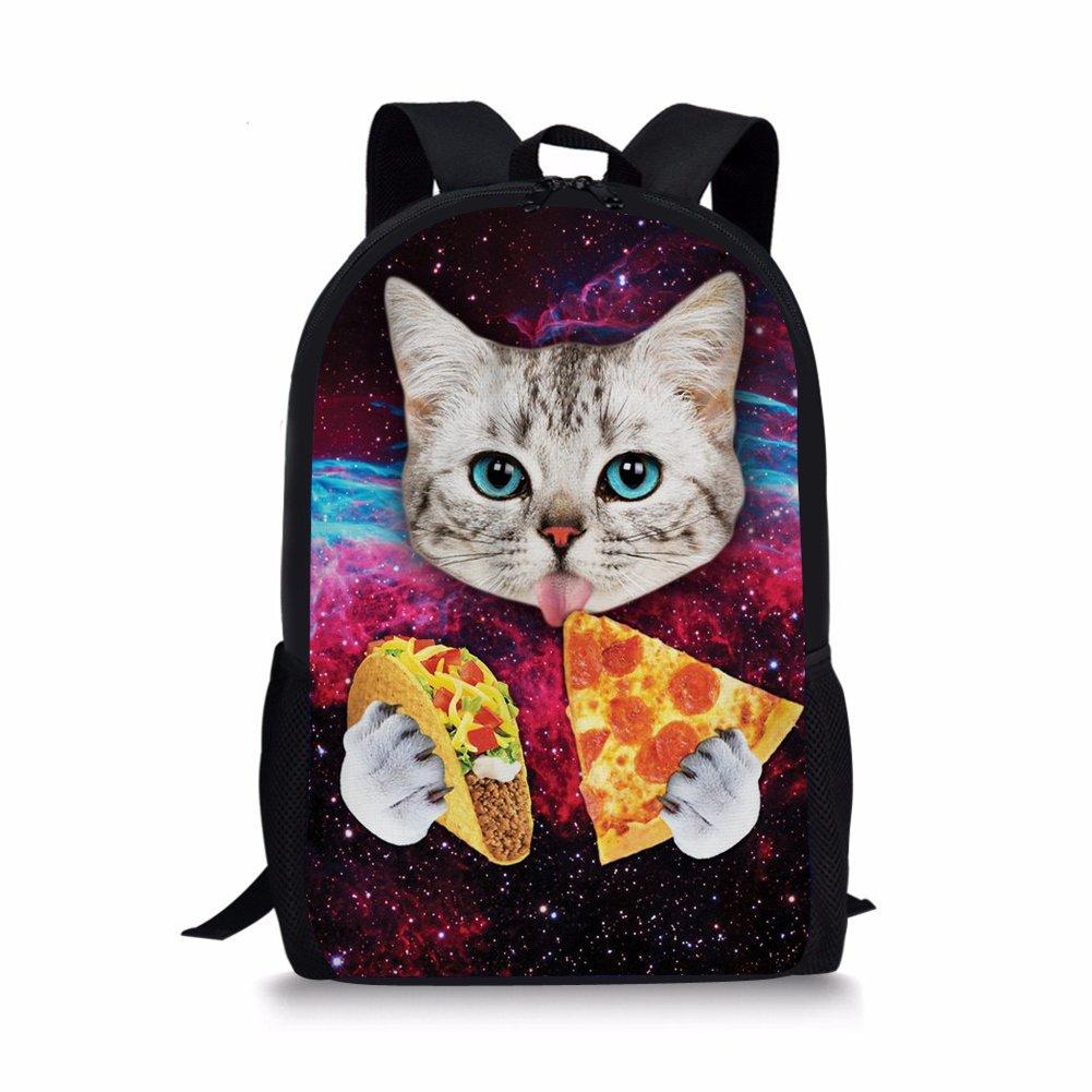 FOR U DESIGNS Campus Students School Bags Galaxy Kitten Cat Shoulder Book Backpack