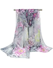 Bullidea 1 Pc Silk Scarf Women's Floral Printing Decoration Chiffon Scarf Beach Ultra-thin Shawl Wrap for Women Girls Sun Protection Beach Swim Holiday
