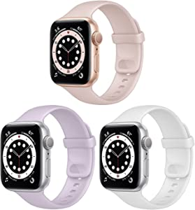 NUKELOLO 3 Pack Sport Bands Compatible with Apple Watch Bands 44mm 42mm 40mm 38mm for Women Men, Soft Silicone Strap Compatible with iWatch Series 6 5 4 3 2 1 SE(42/44mm-Pink Sand/Lavender/White)