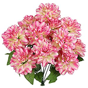 Admired By Nature 2 x 12 Stems Artificial Full Blooming Dahlia for Mother's Day gift, or Decoration for Home, Restaurant, Office & Wedding 110