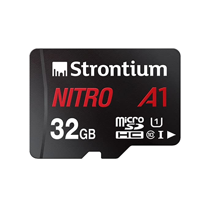Strontium Nitro A1 32GB Micro SDHC Memory Card 100MB/s A1 UHS-I U1 Class 10 with High Speed Adapter for Smartphones Tablets Drones Action Cams Micro SD Cards at amazon
