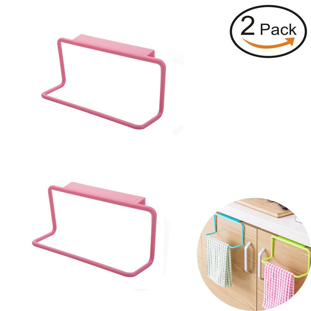 Amazon com vivian over cabinet towel ring rack bathroom kitchen cupboard hanging holder set of 2 pcs pink home kitchen